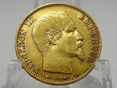 1860A France gold 20 francs coin, KM#781.1, Second Empire, Napoleon III