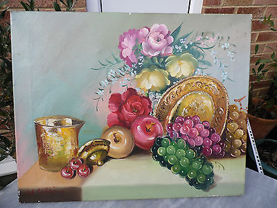 Old Oil Painting on Canvas Signed W Williams - Still Life - Unframed