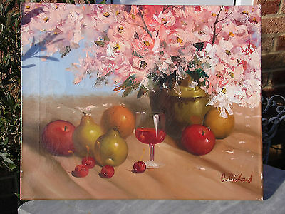 Old Oil Painting on Canvas Signed C Richard - Still Life - Unframed