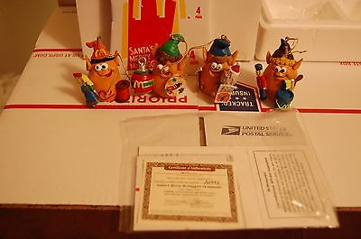 VINTAGE MCDONALDS CHRISTMAS ORNAMENTS SET Of 4 Chicken Merry McNuggets COA