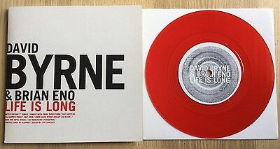 """BRIAN ENO DAVID BYRNE Life Is Long 7"""" Red Vinyl Single 45 Everything That LP"""