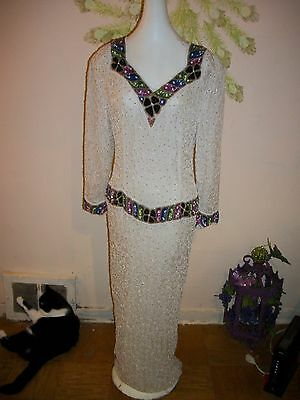 Elegant Formal Long Silk White Dress with Beads & Multicolor Sequins, L/XL, NWOT