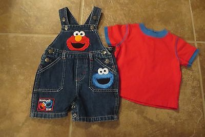 Sesame Street Baby Boys 2 Piece Denim Overalls & Top Outfit Size 3-6 Months Euc!
