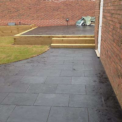 Natural  Black Slate Paving Garden Patio Slabs 30m2 600x400mm  20mm Thick