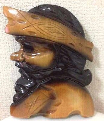 Antique Wooden carving Manl figure Wall hanging AINU CARVED Japan 21cm 15cm