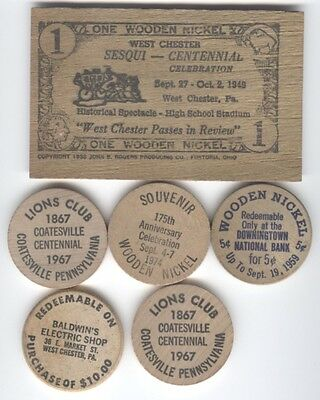 6 Wooden Nickels Chester County, PA Coatesville, West Chester, Downingtown