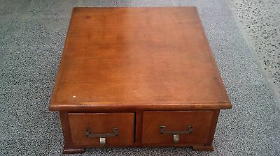 Vintage Wooden Card File Cabinet Two Draw Library Catalog