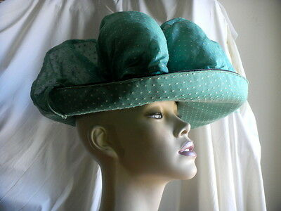 vtg 1950 LADIES HAT BLACK STRAW DOTTED SWISS FABRIC TRIM Edwardian style ASCOT