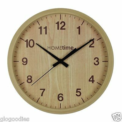 Hometime Wooden Effect Round Wall Clock