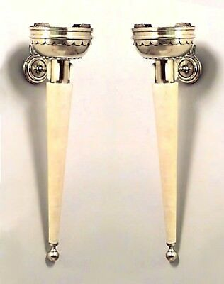 Pair of French Art Deco Parchment Torch Design Wall Sconces