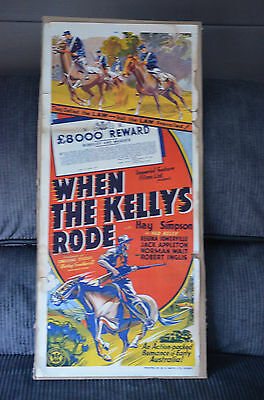 RARE 1940s WHEN THE KELLYS RODE NED KELLY DAYBILL MOVIE POSTER