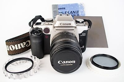 Canon EOS Elan IIE 35mm SLR Film Camera with 28-80 mm lens Kit CLEAN