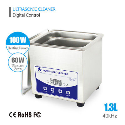 New Mini 1.3L Ultrasonic Cleaner Stainless Steel Industry Heated Heater w/Timer
