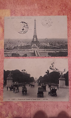 Lot de 2 cartes postales anciennes (Ville de PARIS)