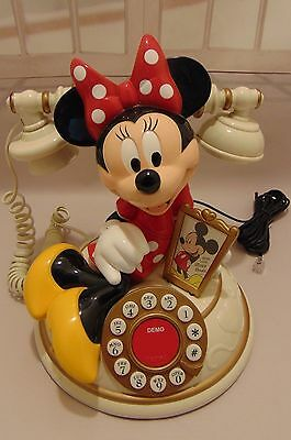 Talking Vintage Disney Telemania Minnie Mouse Collectible Telephone! Works Great