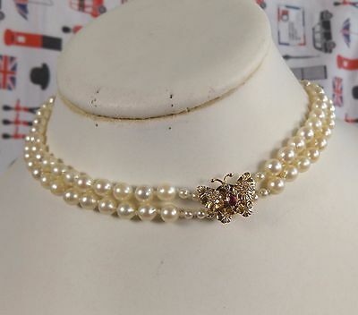 Vtg uniform 2 row saltwater Pearl necklace 18ct Diamond & ruby Butterfly clasp