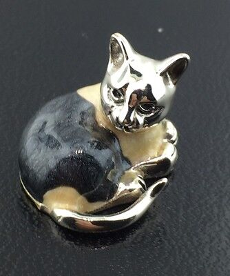 Sterling silver & hand enameled tiny Saturno Cat figurine from Italy