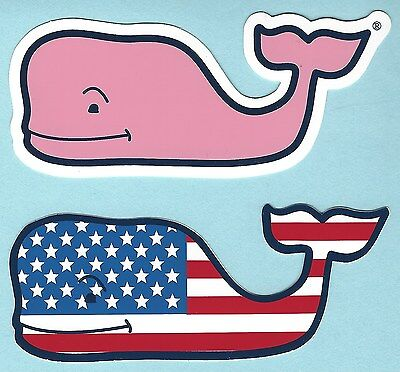 (2) New Authentic Vineyard Vines American Flag And Pink Whale Stickers Decals