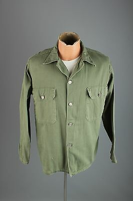 Vtg Men's 1950s Korean War Era HBT Cotton 13 Star Button Jacket sz M L 50s #3093