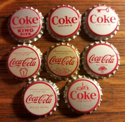 8 diff COCA COLA soda bottle caps unused cork