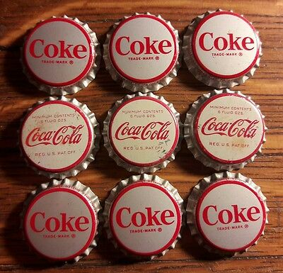 9 COCA COLA soda bottle caps unused cork