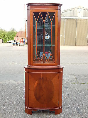 Georgian style tall yew wood corner unit display cabinet with glazed beaded door