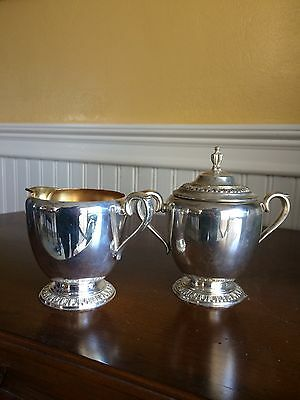 Antique WM Rogers Silverplate Cream And Sugar With Lid -Fenwick 1203