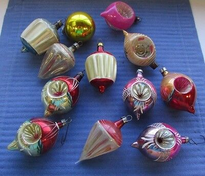 "12 Vintage Mercury Glass Ornaments 2"" Hand Painted Indents Unusual Shapes In Box"