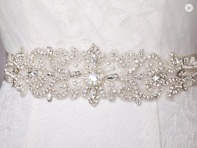 beaded wedding dress sash, Bridal Sash, Bridal Belt crystals sash