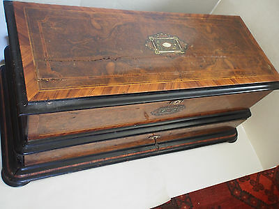 LARGE Antique 1800's MOP Inlay Marquetry Wood Swiss Cylinder Music Box Cabinet