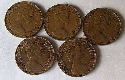 Lot of 5 Great Britain 2 New Pence, 1980, 1977, 1970