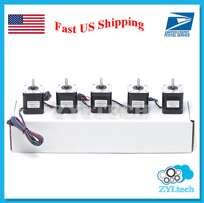 US Shipping 5X Nema17 Stepper Motor 1.7 A 0.59 Nm 84 ozin for 3D printer and CNC