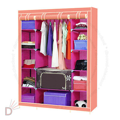 New Pink Triple Multiple Portable Canvas Wardrobe With Hanging Rail Storage UKDC