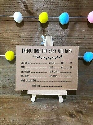 10 Personalised Brown kraft Baby Shower prediction cards game/activity unisex
