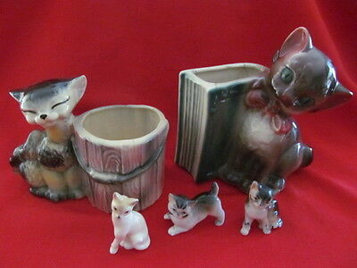 Vintage Collection of 5 Ceramic Cats Planters & Figurines