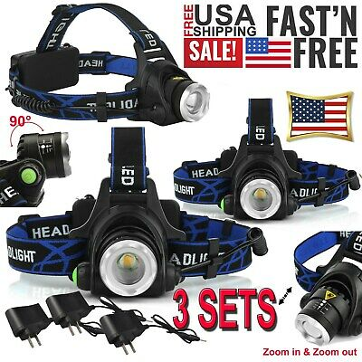 3PC 200000LM Camping Headlight T6 Tactical LED Headlamp Rechargeable+Batt+Char