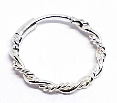 Twisted Tribal Wire Ring 8mm 22g Bright Sterling Silver Nose Hoop Ring Septum
