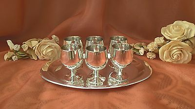 Set Of 6 Silver Plated Miniature Goblets With Tray