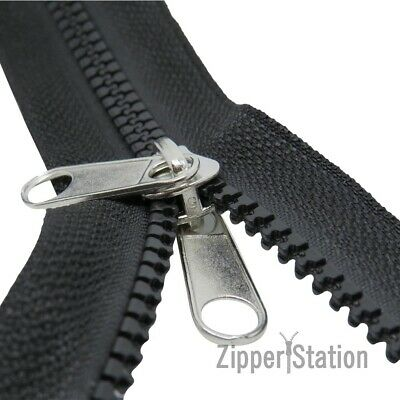 Chunky Plastic #5 Continuous Tent Zip, 2-way slider for zipper, Black, Navy