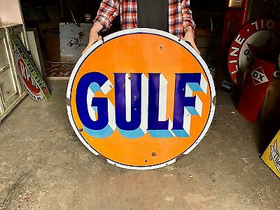 Original 1930's Porcelain Gulf Gasoline 42 Inch Advertising Sign Gas Oil Nice!
