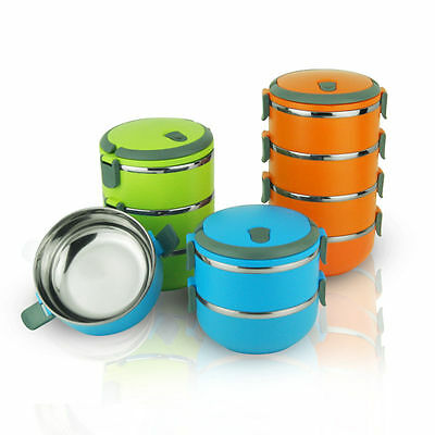 Portable Round Shape Stainless Steel Thermal Insulated Lunch Box Food Container