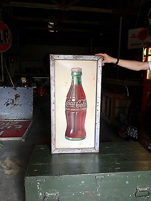Original Vintage Coca Cola White Bottle Advertising Sign w/ Original Wood Frame!