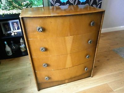Vintage Antique Bow Fronted Walnut Veneer Chest Of Drawers / Shabby Chic Project