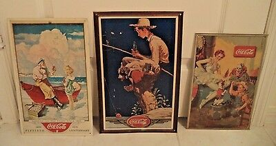 Coca Cola Tin Sign Lot of 3 Circus Wyeth Norman Rockwell Fishing 1989-1990's
