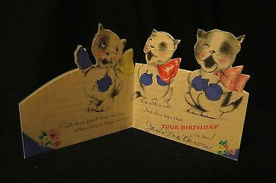 """Vintage 3 Little KITTENS Birthday card c. 1920s """"HAPPY and GAY"""""""