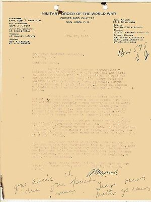 Vintage Letter / Military Order Of The World War / Puerto Rico Chapter 1944