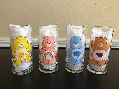 Care Bears - Vintage 1983 Grumpy Cheer Tenderheart & Funshine Pizza Hut Glasses