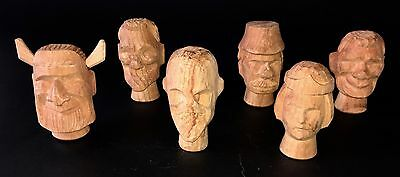 Rare Set of Six Antique Unpainted Wood Puppet Heads
