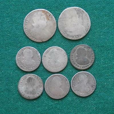 8 coins lot Mexico Colonial Silver 2 2 real  & 6 1/2 Real  Mo