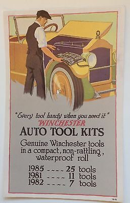 "Winchester Auto Tool Kits Advertising Card 11"" x 7"" Automobile Tool  Ad"